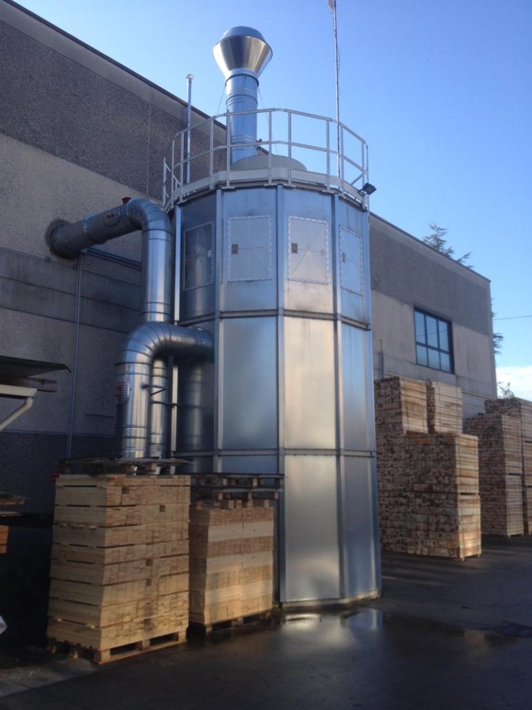 Impianto di aspirazione industriale, filtrazione e stoccaggio trucioli di legno con certificazione ATEX con silos poligonale