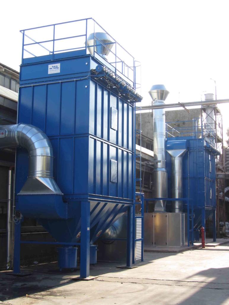 Impianto di aspirazione industriale e filtrazione polveri provenienti da linee di lavorazione fibra di vetro con n. 2 filtri autopulenti a maniche da 25000 mch cad