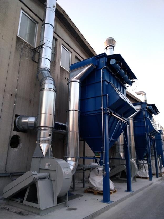 impianto di aspirazione industriale chimica